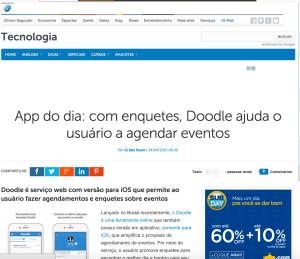 """Doodle """"App do Dia"""" no portal iG"""